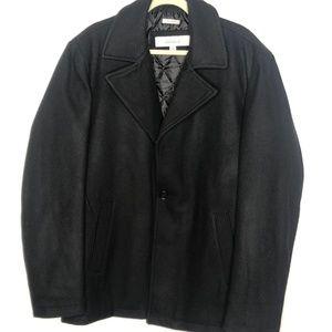 Perry Ellis Men's Black Wool Pea Coat